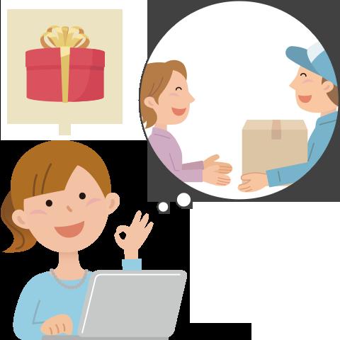 『配送先と請求先が違う場合でもOK!勤務先へのお届けやギフト注文にも対応』のイメージ画像
